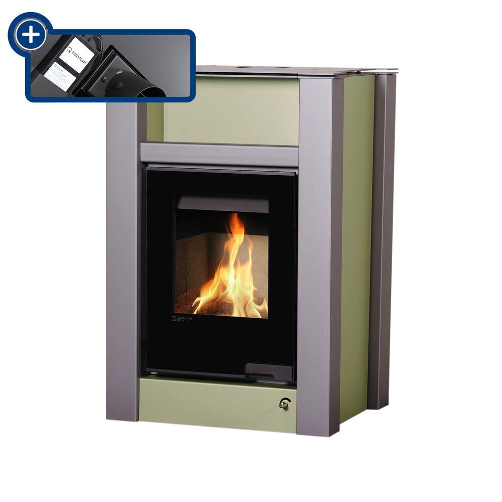 HS FLAMINGO krbová kamna AQUAFLAM VARIO LEND 11/5 kW - olivová - elektronická regulace