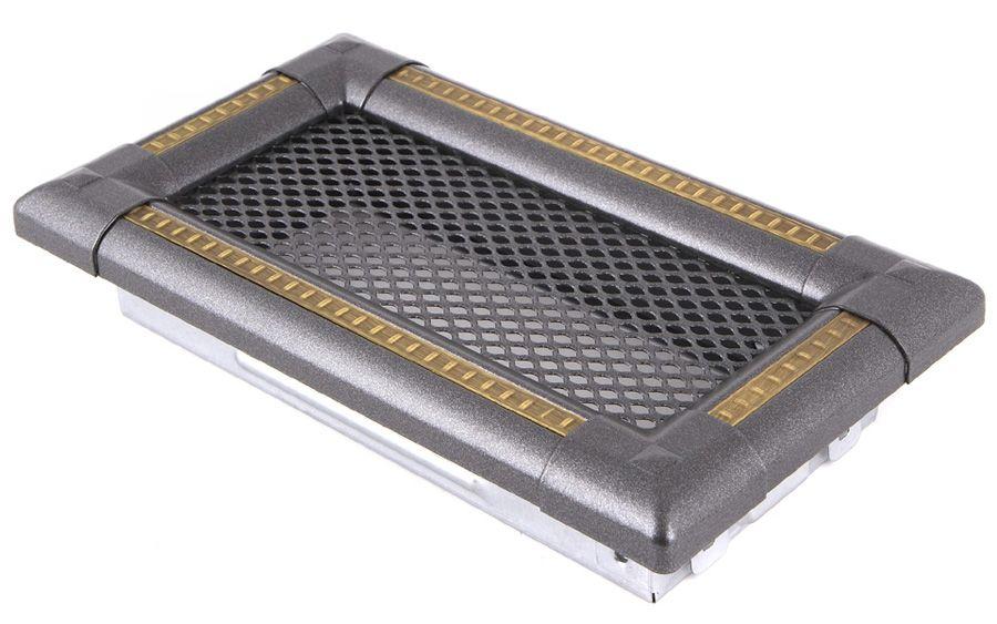 Krbová mřížka 10x20cm EXCLUSIVE grafit / mosaz patina